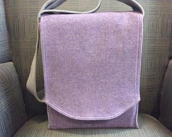 Purple Wool Messenger Bag