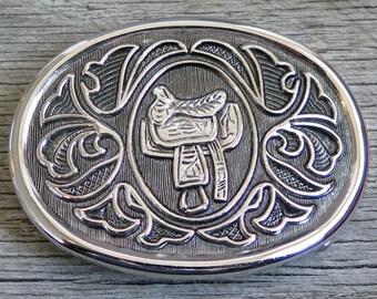 Vintage Saddle Belt Buckle - Silver - Western - SALE - Riding - Gifts for Horseback Rider -  - Mothers Day Gift Idea