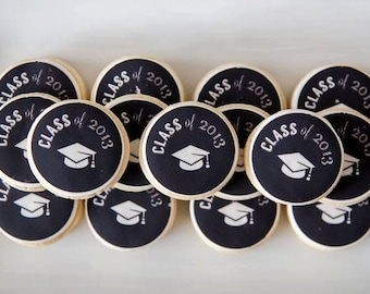 Black and White CHALKBOARD Graduation Party Printable Cupcake Toppers
