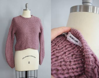 Helmut Lang Chunky Knit Pullover | Modern | Lavender Wool Sweater
