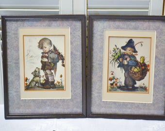 Vintage Hummel Print Set of 2 Framed Boy with Dog Boy with Chicks Basket Nursery Decor PanchosPorch