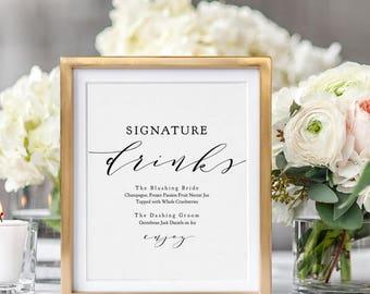 "Signature Drinks Printable template, Wedding Signature Drink Sign, Signature Cocktails, 8x10"" + 5x7"" wedding sign, ""Wedding"" Edit in ACROBAT"