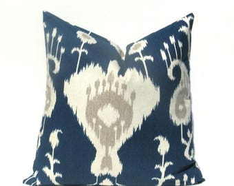 15% Off Sale Navy Pillow, Ikat Pillow, Bohemian Pillow, Modern Navy  Pillow, Cushion Cover, Accent Pillow, Navy Gray pillow , Ikat pillow co