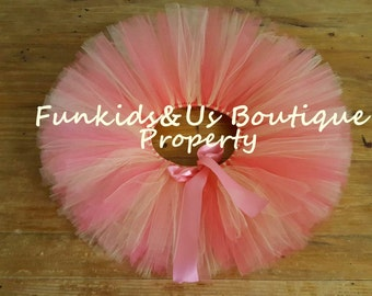 Coral Gold Tutu- Full and fluffy Sweet Newborn Coral Gold  Tutu, Birtday,photoprop, 0,6,,9,12,18,2T-5T