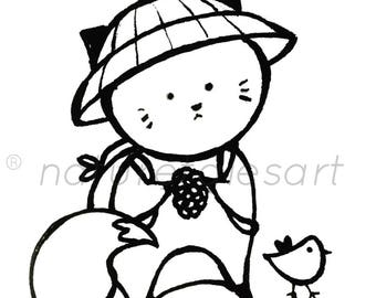 Bebeko and Pipit Clipart/Coloring Page