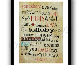 Somewhere Over The Rainbow, Wizard Of Oz poster print