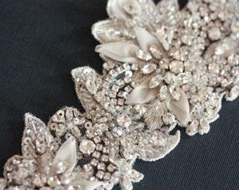 Beaded Bridal Sash - ISLA 12.5 to 13 inches