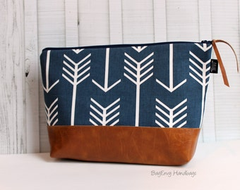 Navy Arrows with Vegan Leather - Large Make Up Bag / Diaper Clutch / Bridesmaid Gift