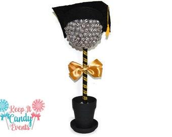 Large Lollipop Graduation Topiary, Candy, Lollipop Grad Centerpiece, Graduation Party Candy Buffet, Grad Party Decor, High School Graduation