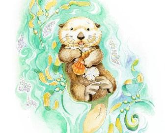 Sea Otter, Sea Otter Art, Sea Otter Nursery, Otter, Baby Sea Otter, Otter Nursery, Otter Print, Watercolor Nursery, Nautical Nursery, Ocean