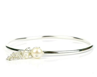 Thick sterling silver bangle with silver droplet charm and white freshwater pearls, highly polished 3mm round bangle, Shimmer Collection