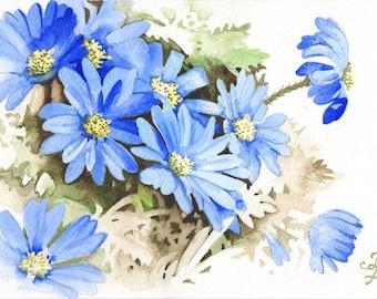 blue flower painting, original art gift, Anemone Blanda blue, ORIGINAL watercolor painting, FREE shipping