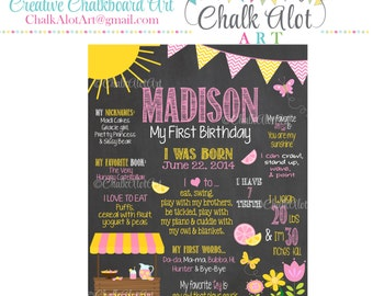 Pink Lemonade Birthday Chalkboard, Sunshine Birthday, Lemonade Poster, Lemonade Stand Chalkboard, First Birthday Chalkboard, Milestone