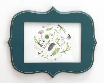 Botanical Mouse Print 5x7 Woodland Nursery Art in Teal Frame
