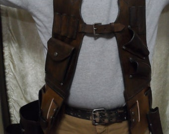 Handmade Leather tool vest, customized leather tool vest, personalized leather tool vest, leather tool belt, tool holder, tool pouch, tools