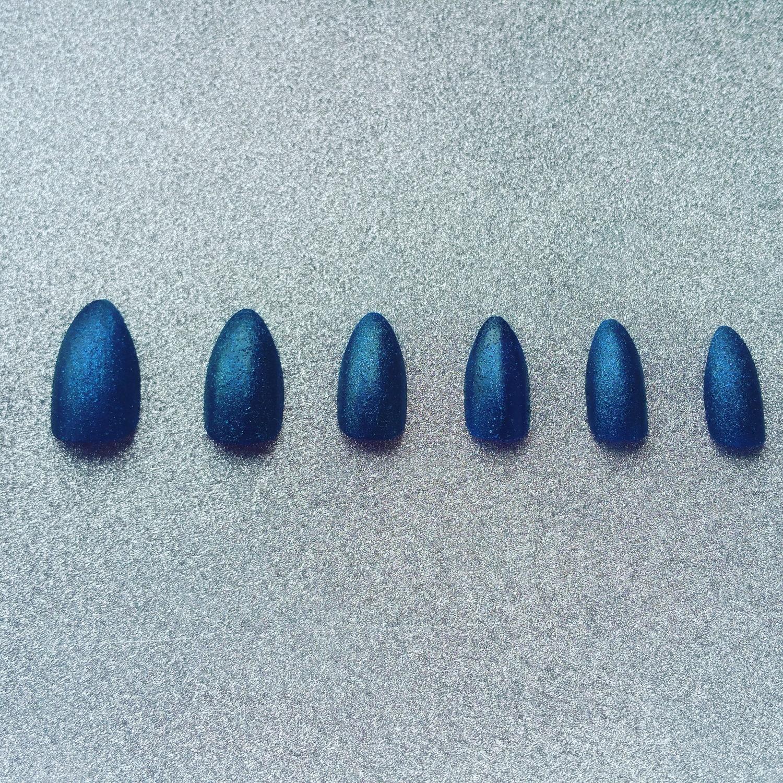 Denim Blue Stiletto False Nail Set, Blue Nails, Denim Blue, Denim ...