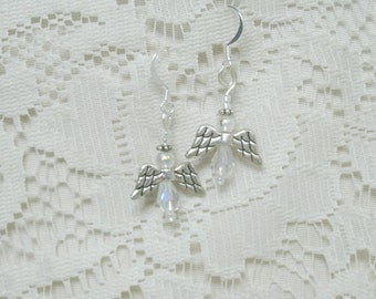 Handmade Clear Crystal Angel Earrings. Always FREE shipping