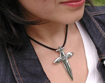 Unisex Huge Dagger Style Cross Sterling Silver My original OOAK Design Fully Closed Back High Polished Finish