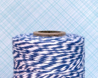 Midnight Blue Bakers Twine - Blue and White Bakers Twine (240 yard spool)