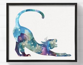 Cat Art - Cat Print - Watercolor Cat - Cat Painting - Cat Wall Art - Cat Wall Decor, Cat Poster, Watercolor Animal, Watercolor Art, Modern