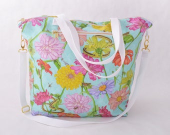 Weekender Tote - Zinnia and Garden Insect