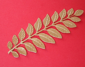 Large Branch Leaves Embellishment  Raw  Brass  Stamping Pendant .