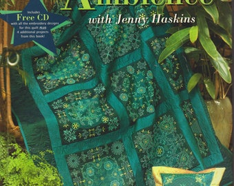AQUAMARINE AMBIENCE Jenny Haskins Quilting Book and C.D. Quilting Softbound Thick  Colors of the Sea Like New Condition