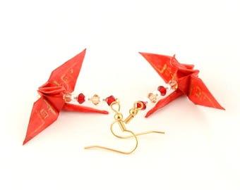 Dream Kanji on Red Origami Crane Earrings Gold Plated Hooks Jewelry