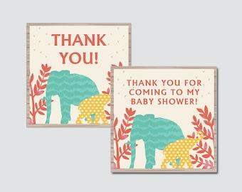 Elephant Baby Shower Printable Favor Tag - Jungle Baby Shower Favor Tags - Thank You Tag, Elephant Jungle Favor Tags