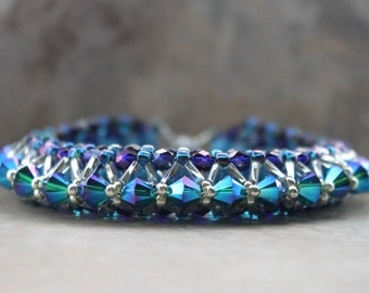 Crystal Layered Bracelet in Blues and Purples
