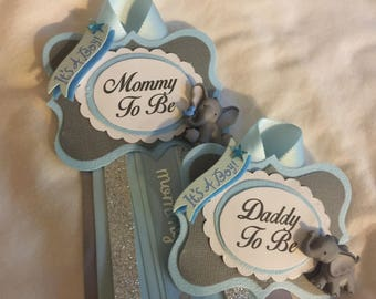 Mommy to Be 9.99 and or other guest pins sold separately, Elephant, It's a Boy, Lt. Blue, Corsage