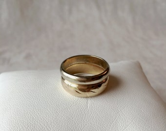 Vintage 14KT Gold Soldered Wedding Band, White Gold, Yellow Gold, His and Her Bands Soldered Together, Widow Band, PK147