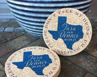 Don't Take my Drink Texas Wedding Cork Coaster Favor