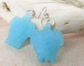 Sea Glass Turtle Earrings, Sea Turtle Earrings, Dainty Earrings, Dangle Earrings, Beach Earrings, Starfish Earrings, Beach Glass Earrings