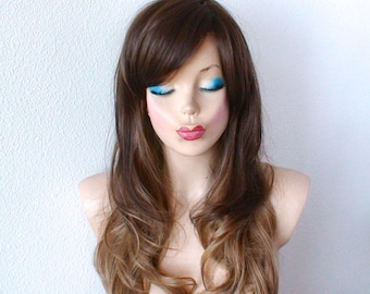 Ombre wig. Lace front wig. Brown / Dirty blonde wig. Durable Heat friendly synthetic wig for daily use or Cosplay.