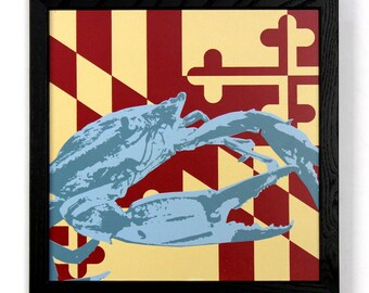 Blue Crab with Maryland Flag, Framed Silkscreen Print
