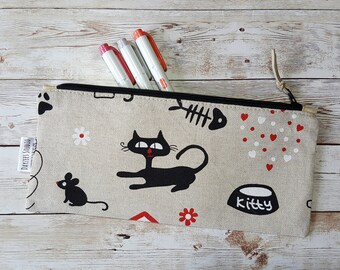 Canvas pencil case | cat lovers gift | zipper pouch | pen bag | accessory case | office supplies | back to school | makeup brush storage