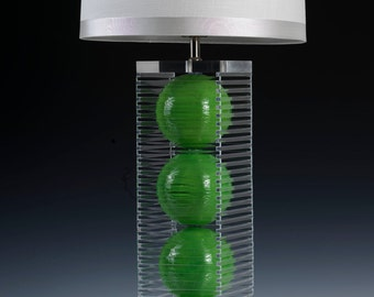 Green table lamp. Modern lighting, acrylic lamp, bedside lamp, ceramic lamp, desk lamp, modern ceramic lamp. Handcrafted lighting.