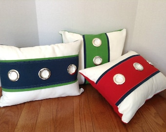 Made to Order-Navy/Green/Red/White Nautical  Stripe Silver Grommet Designer Pillow/Choose Size/Zipper Closure Throw Pillow Cover