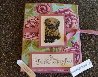 Stampin Up/Dragonflylaser Homemade Greeting Card Petal Garden Thanks so much 6915 Toy Poodle