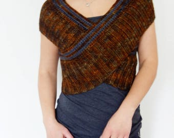 Shrug Crochet PATTERN - Oxide Crossed Shrug/Ribbed Cross Vest/Wrapped Around Shrug/ V Neck Wrap Sweater/