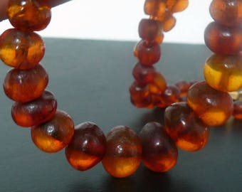 Art Deco Amber Necklace // Natural Antique Baltic Amber Necklace // 18K Gold clasp // CarmaPearls Vintage Jewelry