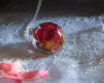Large Real Rose Necklace Orb