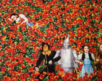 Wizard of Oz Yellow Brick Road Characters in Poppy Field Fabric by Quilting Treasures OOP VHTF