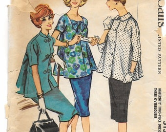"A Maternity Kangaroo-Style Straight Skirt, Kimono Sleeve Blouse with Collar Variations Pattern: Retro Size 12, Bust 32"" • McCall's 5156"