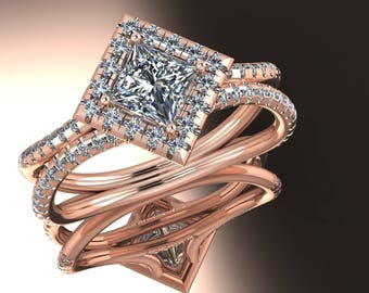 14K Rose Gold With  Diamond Center Stone Ring SH-RG1010