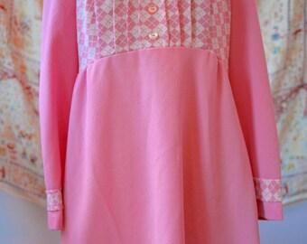 1960s Vintage Pink Checkered Dress