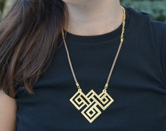 Brass Plated With 24k Gold Necklace, Geometric Pendant, Maze Pendant, Brass Plated Labyrinth, Sqoare Maze