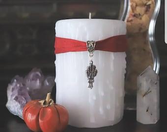 Lughnasadgh wheatsheaf candle, Lammas candle, harvest festival candle, white altar candle, harvest table decor, witches Sabbath celebration