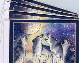 4 x Siberian husky dog greeting cards singing sibes sled dogs choir practice choral music howling at the moon from Susan Alison painting